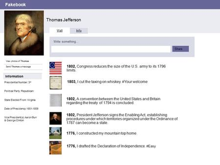 Fakebook Thomas Jefferson View photos of Thomas Send Thomas a message Wall Info Write something… Share Information Presidential Number: 3 rd Political.