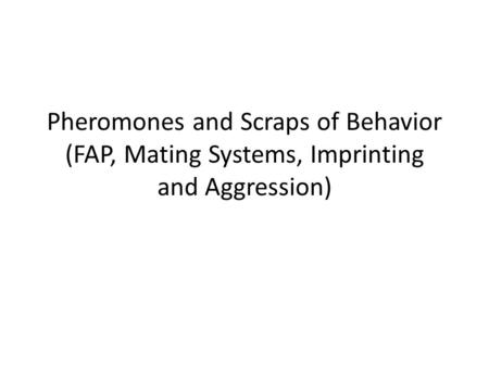 Pheromones and Scraps of Behavior (FAP, Mating Systems, Imprinting and Aggression)
