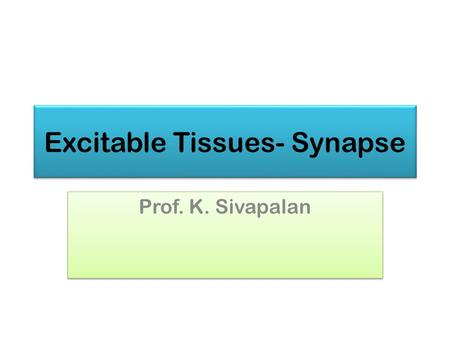 Excitable Tissues- Synapse Prof. K. Sivapalan. Synapses June 2013Synapse2.