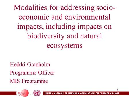 1 Modalities for addressing socio- economic and environmental impacts, including impacts on biodiversity and natural ecosystems Heikki Granholm Programme.