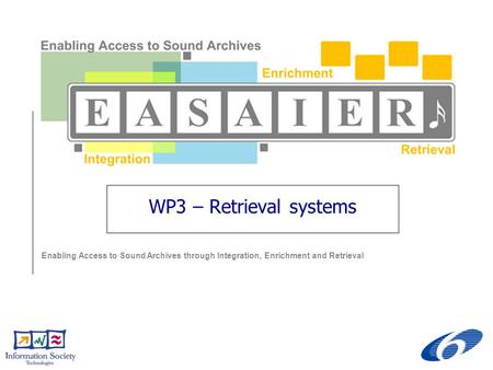 Enabling Access to Sound Archives through Integration, Enrichment and Retrieval WP3 – Retrieval systems.
