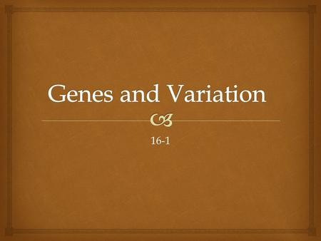 Genes and Variation 16-1.