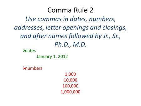 Commas after dates