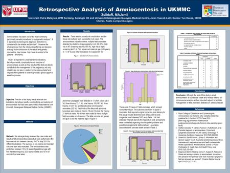 TEMPLATE DESIGN © 2008 www.PosterPresentations.com Retrospective Analysis of Amniocentesis in UKMMC ZulidaR, MAJamil Universiti Putra Malaysia, UPM Serdang,