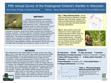 Fifth Annual Survey of the Endangered Kirtland's Warbler in Wisconsin Kim Grveles, WI Dept. of Natural Resources Partners: Natural Resources Foundation.