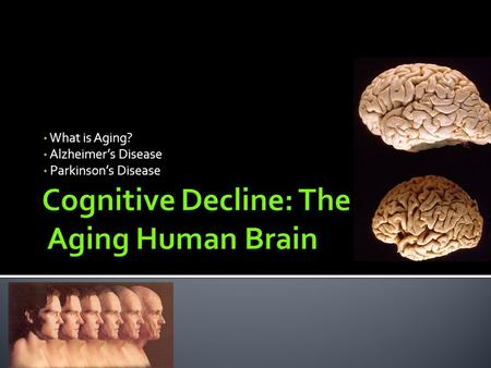 What is Aging? Alzheimer's Disease Parkinson's Disease.
