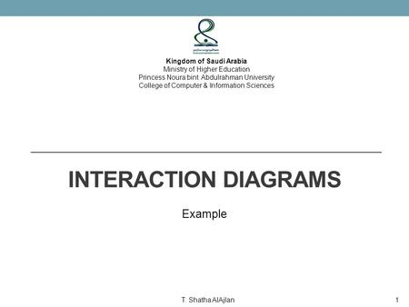 INTERACTION DIAGRAMS Example Kingdom of Saudi Arabia Ministry of Higher Education Princess Noura bint Abdulrahman University College of Computer & Information.
