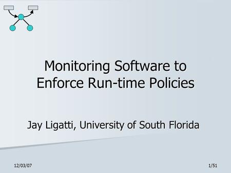 12/03/071/51 Monitoring Software to Enforce Run-time Policies Jay Ligatti, University of South Florida.