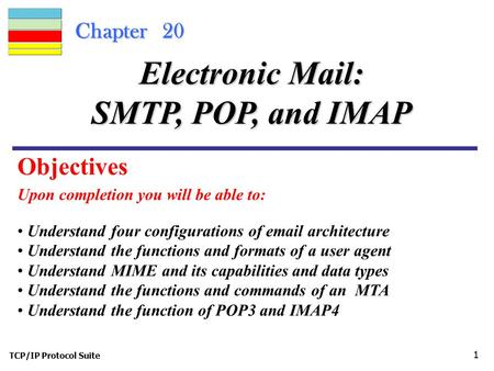 Electronic Mail: SMTP, POP, and IMAP