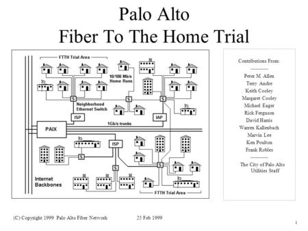 1 Palo Alto Fiber To The Home Trial Contributions From: ----------- Peter M. Allen Terry Andre Keith Cooley Margaret Cooley Michael Eager Rick Ferguson.