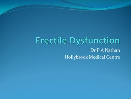 Dr P A Nathan Hollybrook Medical Centre. How common? 50% of men between 40-70yrs 70% of men aged 70yrs.