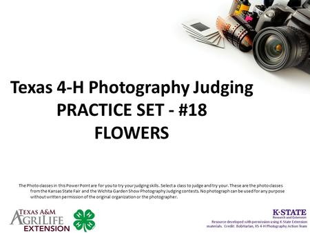 Texas 4-H Photography Judging PRACTICE SET - #18 FLOWERS The Photo classes in this Power Point are for you to try your judging skills. Select a class to.