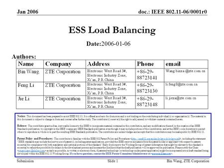 Doc.: IEEE 802.11-06/0001r0 Submission Jan 2006 Bin Wang, ZTE CorporationSlide 1 ESS Load Balancing Notice: This document has been prepared to assist IEEE.