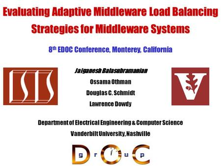23 September 2004 Evaluating Adaptive Middleware Load Balancing Strategies for Middleware Systems Department of Electrical Engineering & Computer Science.