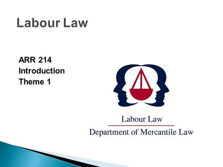 ARR 214 Introduction Theme 1. Introduction (Lecturer) LECTURER:Adv. D M Smit CRS 27 Telephone:401-3593 (W)