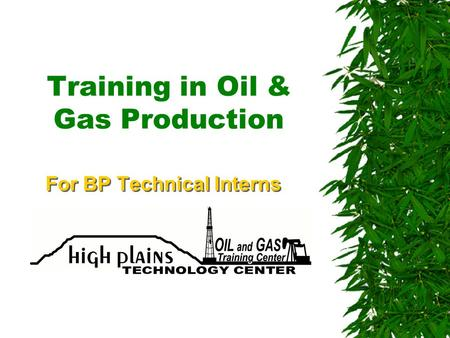 Training in Oil & Gas Production For BP Technical Interns.