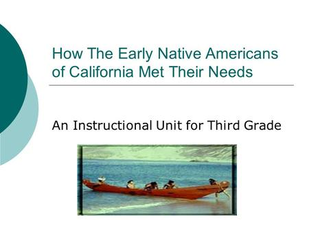 How The Early Native Americans of California Met Their Needs An Instructional Unit for Third Grade.