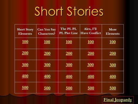 Short Stories Short Story Elements Can You Say Characters? The PL PL PL Plot Line Alex, I'll Have Conflict More Elements 100 200 300 400 500 100 200 300.