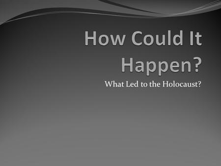 What Led to the Holocaust?. Inference Activity World War II Basics Germany started World War II by invading Poland on September 1, 1939. Britain and.