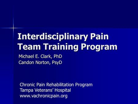 Interdisciplinary Pain Team Training Program Michael E. Clark, PhD Candon Norton, PsyD Chronic Pain Rehabilitation Program Tampa Veterans' Hospital www.vachronicpain.org.