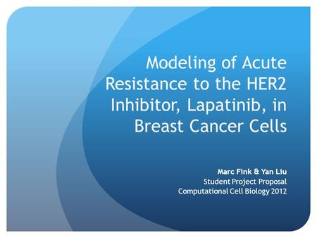 Modeling of Acute Resistance to the HER2 Inhibitor, Lapatinib, in Breast Cancer Cells Marc Fink & Yan Liu Student Project Proposal Computational Cell Biology.