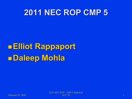 2011 NEC ROP - CMP 5 Report to SCC 18