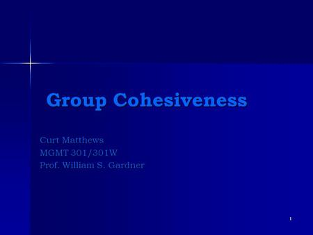 1 Group Cohesiveness Group Cohesiveness Curt Matthews MGMT 301/301W Prof. William S. Gardner.
