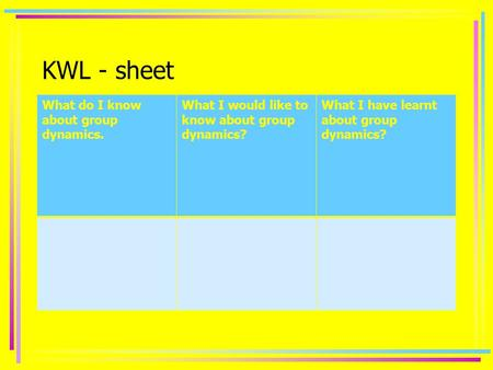 KWL - sheet What do I know about group dynamics. What I would like to know about group dynamics? What I have learnt about group dynamics?