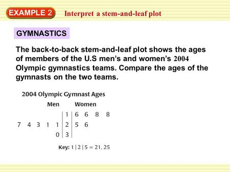 EXAMPLE 2 Interpret a stem-and-leaf plot The back-to-back stem-and-leaf plot shows the ages of members of the U.S men's and women's 2004 Olympic gymnastics.