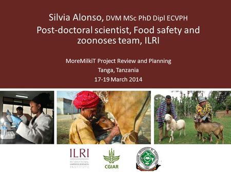 Silvia Alonso, DVM MSc PhD Dipl ECVPH Post-doctoral scientist, Food safety and zoonoses team, ILRI MoreMilkiT Project Review and Planning Tanga, Tanzania.