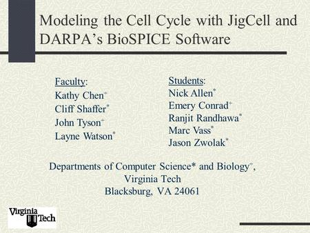 Modeling the Cell Cycle with JigCell and DARPA's BioSPICE Software Departments of Computer Science* and Biology +, Virginia Tech Blacksburg, VA 24061 Faculty:
