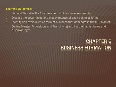 Chapter 6 Business formation