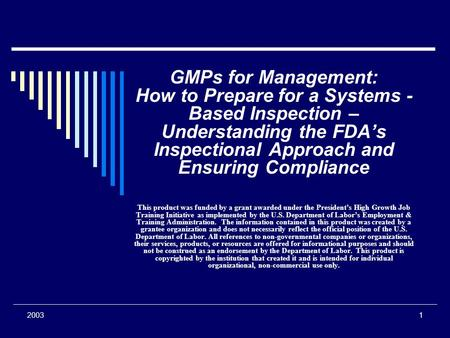 20031 GMPs for Management: How to Prepare for a Systems - Based Inspection – Understanding the FDA's Inspectional Approach and Ensuring Compliance This.