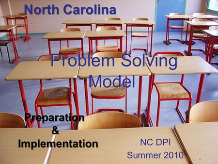 Problem Solving Model Problem Solving Model NC DPI Summer 2010 1 Preparation Preparation & Implementation Implementation North Carolina.