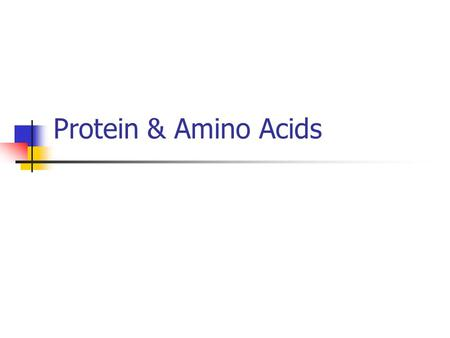 Protein & Amino Acids. Components of Protein Amino acid chains (up to 300 AA) Amino acid consists of: 1. Amine group (NH3+) 2. Hydrogen 3. Carboxyl group.