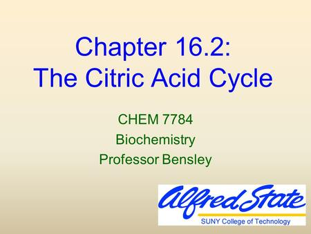 Chapter 16.2: The Citric Acid Cycle CHEM 7784 Biochemistry Professor Bensley.