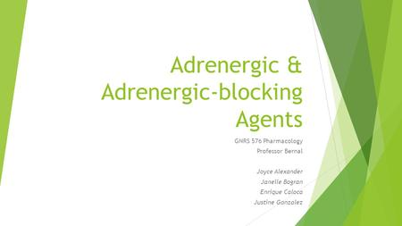 Adrenergic & Adrenergic-blocking Agents