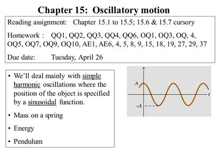We'll deal mainly with simple harmonic oscillations where the position of the object is specified by a sinusoidal function. Mass on a spring Energy Pendulum.