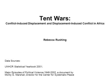 Tent Wars: Conflict-Induced Displacement and Displacement-Induced Conflict in Africa Rebecca Rushing Data Sources: UNHCR Statistical Yearbook 2001; Major.