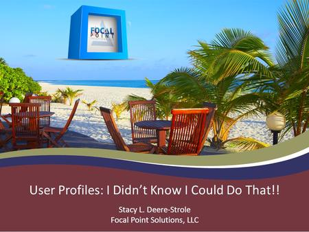 User Profiles: I Didn't Know I Could Do That!! Stacy L. Deere-Strole Focal Point Solutions, LLC.
