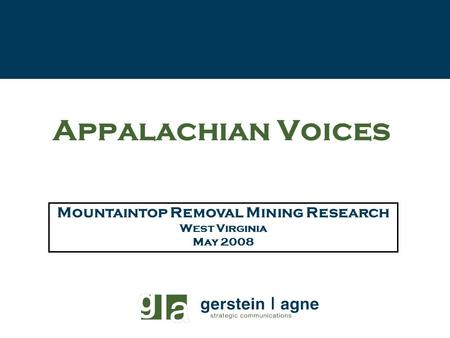 Mountaintop Removal Mining Research West Virginia May 2008 Appalachian Voices.