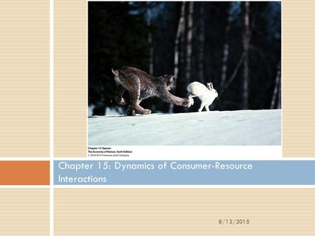 Chapter 15: Dynamics of Consumer-Resource Interactions 8/13/2015.