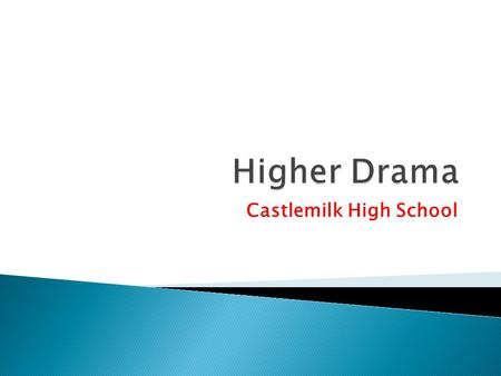 Castlemilk High School.  As with National 3,4 and 5 you will start the course with the Drama Skills unit. This requires you not only devising and acting.