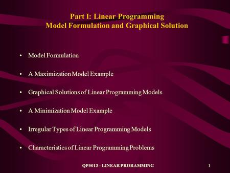 Part I: Linear Programming Model Formulation and Graphical Solution