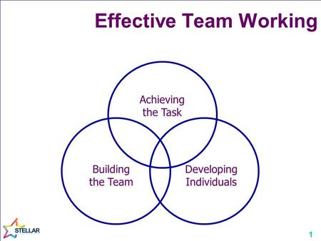 1 Achieving the Task Building the Team Developing Individuals Effective Team Working.