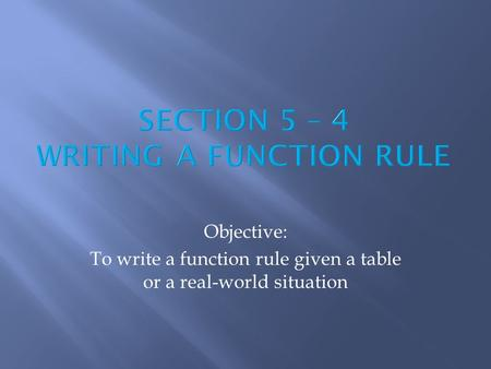 writing a function rule from a table powerpoint
