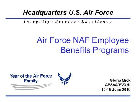 I n t e g r i t y - S e r v i c e - E x c e l l e n c e Headquarters U.S. Air Force 1 Air Force NAF Employee Benefits Programs Gloria Mick AFSVA/SVXHI.