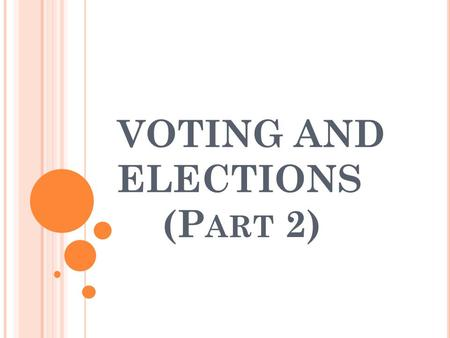 VOTING AND ELECTIONS (P ART 2). P OLITICAL P ARTIES Two major parties today Democrats vs. Republicans Nothing is mentioned about political parties in.