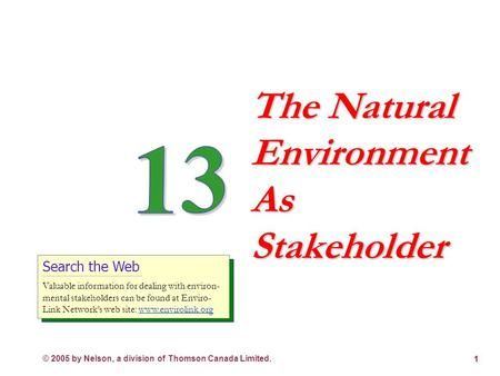 © 2005 by Nelson, a division of Thomson Canada Limited. 1 The Natural Environment As Stakeholder Search the Web Valuable information for dealing with.