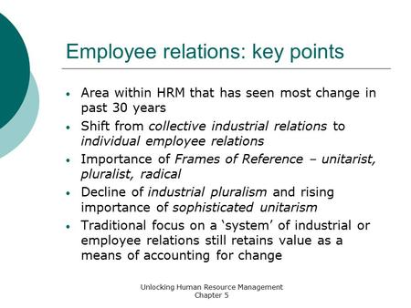 frames of reference and contemporary hrm The changing roles of management and unions within the employment relationship frames of reference human resource management: contemporary.